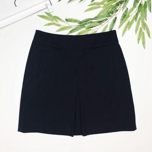 Ann Taylor LOFT | navy blue mini skirt w/ slit